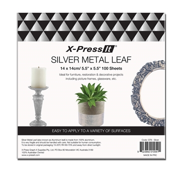 Picture of X-Press It Silver Metal Leaf 140x140 100sh/bk