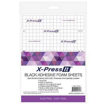 Picture of X-Press It Adhesive Foam Sheets Black 2mm A5 2 sheets