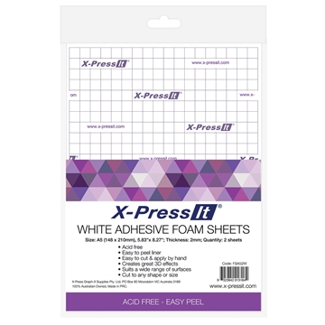 Picture of X-Press It Adhesive Foam Sheets White 2mm A5 2 sheets