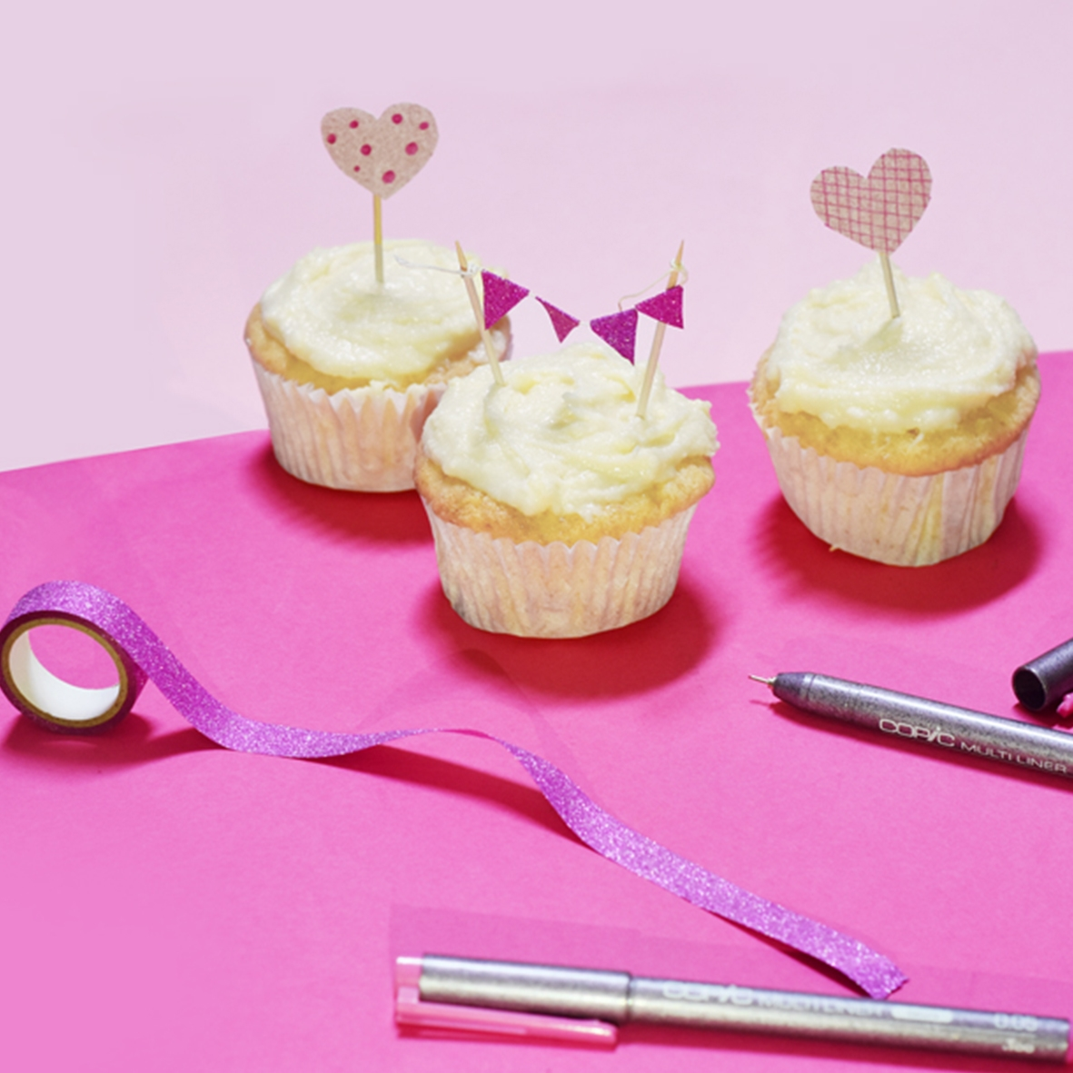 Think Pink Cup Cake Toppers